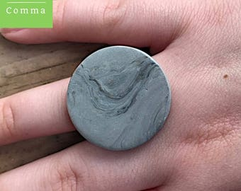 Ceramic ring, gray stone ring, statement jewelry, boho accessories, gray slate, marble ring, adjustable ring, contemporary ring