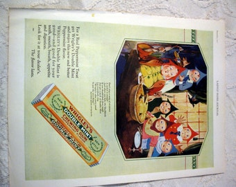 1927 Wrigleys Gum Ad Mother Goose Up to Date Series Sing a Song of Sixpence