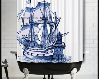 Blue Sailing Ship Shower Curtain -Tall Ship Shower Curtain - Galleon Ship Blue Nautical Decor Shower Curtain