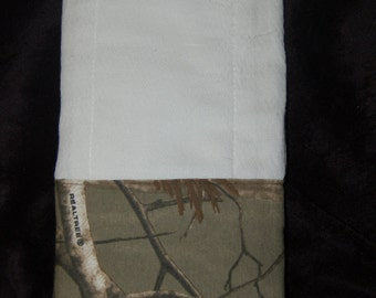 Personalized baby burp cloth Realtree Camo custom girl or boy Mossy oak break up Embroider it w/ Hunter orange or girls in pink