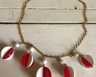 1960's red and white celluloid necklace