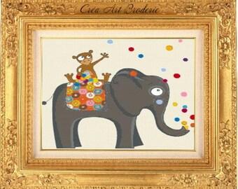Counted cross stitch Children elephant