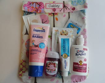 Pretty Trees Clear Front Tote 8x10 for Diapers Wipes Meds First Aid Inhaler/Spacer Epi Pens Toddler Baby Bag Clear Front Travel Carry On
