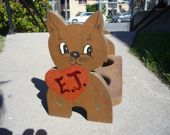 Vintage Wood Dog Food Water Bowl Combo Stand Folk Art Craft Planter Terrier Pup ca. 1950s-70s