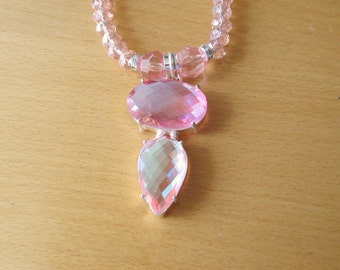 Pink Topaz Necklace, Pink Topaz Pendant, Sterling Silver Pendant And Glass Crystal Bead Necklace