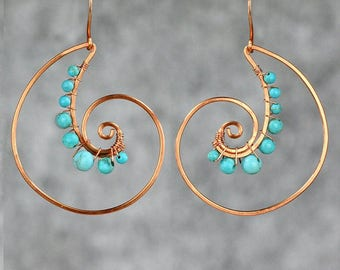 Copper wiring turquoise shell spiral hoop Rococo earring handmade US free shipping Anni Designs