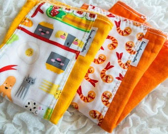 Baby burp cloth set - bento box sushi yellow and orange hand dyed burp cloth set laundrymonster