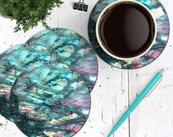 Labradorite Coasters, Rainbow Moonstone Coasters, Set of 4 Cork Back Boho Gemstone Coasters, Spiritual Labradorite Stone