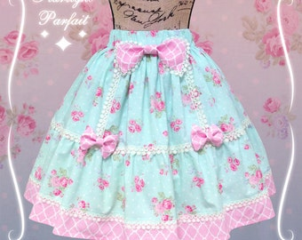 Pink/Mint Rose Skirt | Kawaii, Harajuku, Sweet lolita Skirt | Handmade in the USA | Women's Sizes: SM | (Last One Available) | Ready to Ship