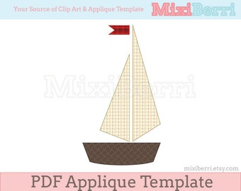 Applique Template Small Boat PDF Applique Pattern