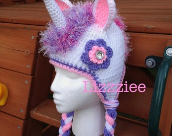 Unicorn Hat Crochet Pattern PDF - instructions for beanie, earflap, braids, ties - Instant Digital Download