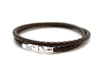 Mens 4mm Braided Rubber Bracelet With Sterling Silver Clasp-Double Wrap Dark Brown