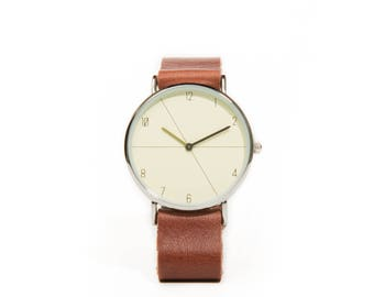 Unisex brown leather - recycled brown leather watch Unisex Watch