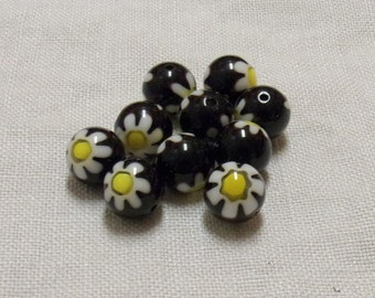 SALE - Glass Chevron Black Beads with Flowers - 10 mm - Sets of 10