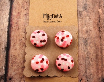 Fabric Covered Button Magnets / Peach Speckles Magnets / Peach Magnets / Strong Magnets / Refrigerator Magnets / Fridge Magnets