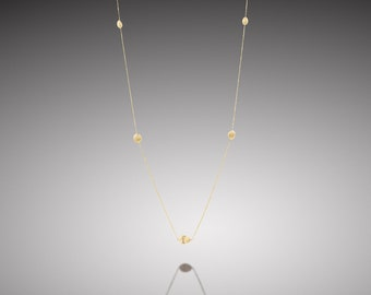ANEMONE-14K ,Yellow gold ,long necklace ,gold nuggets ,nugget necklace ,small gift ,white diamond ,Everyday necklace ,delicate necklace