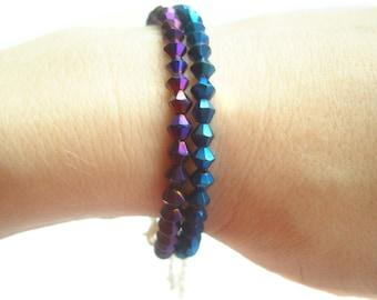 Purple Crystal Bracelet, Sparkly Bead Bracelet, Purple Bracelet, Evening Jewellery