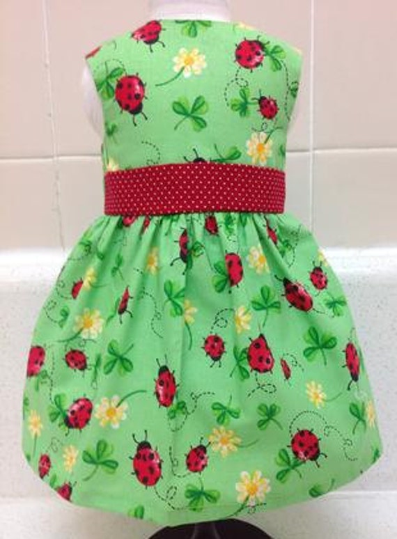Lady Bug and Clover 18 Inch Doll Dress American Handmade