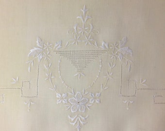 """SALE Vintage  Linen Burp Cloth Embroidered Table Topper Homespun Dresser Topper 1940s Hand Embroidered Cutwork Border 13 1/2 """" x 18"""""""