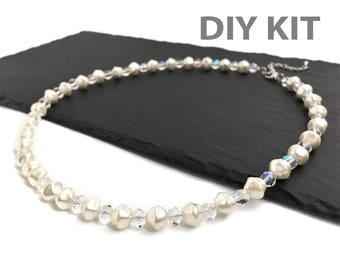 DIY Necklace Kit, Jewelry DIY Kit, Bridal Necklace, Bridesmaid Gift, Wedding Necklace, Glass Pearl Necklace