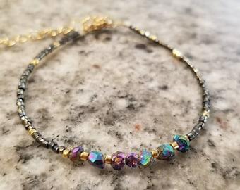 Rainbow titanium pyrite and seed bead bracelet