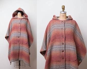 1970s Wool Poncho / 70s Hooded Cloak
