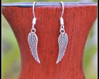 Angel Wing Earrings, Silver Earrings, Metal Wing Earrings