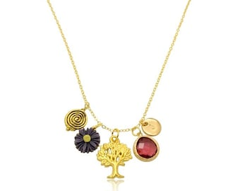 Garnet Birthstone Necklace, Tree of Life Flower Necklace, Initial Pendant Necklace, Crystal Charms 18k Gold Pendant Necklace, Gift for Her