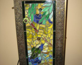 Mosaic Stained Glass Lighted Table - Wisteria Pattern