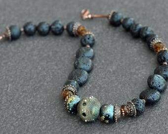 Galaxy Necklace -  Artisan lampwork, bronze and Lava stones necklace / 'Galaxy' necklace