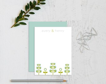 Personalized Stationery - Personalized Stationary - Couple Stationary - Personalized Notes - Note Cards - Notecard Set / Mod Garden
