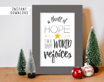 Printable Art, Christmas Print, O Holy Night, A Thrill of Hope the Weary World Rejoices