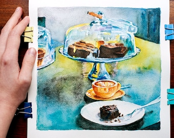Blue painting Coffee lover gift Bar artwork ORIGINAL watercolor Cafe painting Blue watercolor painting Coffee cafe art Original coffee art