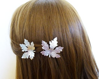 Silver Maple Leaf Hair Clips Leaf Barrettes Leaf Accessory Forest Nature Accessories Autumn Fall Hair Accessories Woodland Hair Accessories