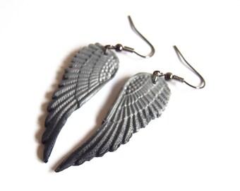 Wings Earrings ( silver wing earrings black wing earrings ombre earrings polymer clay jewelry dangle earrings bridesmaid earrings )