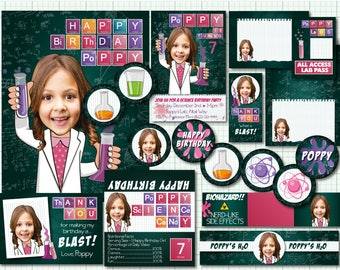 Science Party Package - Personalized with your photo - DIGITAL FILES