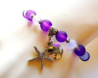 Purple Sea Glass Bracelet Tibetan Silver Starfish Sand Dollar Charm Spring Summer Beach Glass Jewelry Beach Wedding Bridesmaid Jewelry