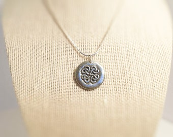 Necklace Celtic design/  Friendship. Pendant.  Necklace charm.  Hand stamped both sides.