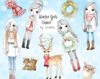 Winter girls , Christmas girl clipart instant download PNG file - 300 dpi