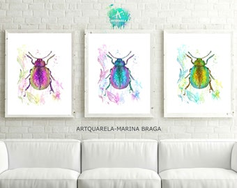 Set Of 3  Watercolor Beetle Poster, Beetles Print, Set of 3  Beetles Illustration, Insect Print, Modern Home Decor, Insect Wall Art,