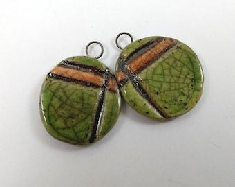 Ceramic Pendant Charms,Handmade Beads,Jewelry Supplies,Raku Fired Clay Earring Components,Artisan Rustic Raku Pendants with Geometric Design