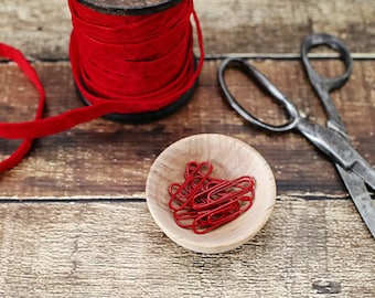 1 inch red coated paper clips - Set of 12 - red clip, packaging, gift wrap, red paper clip, clip, gift packaging, party supplies