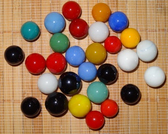 Lot of 29 Vintage Marbles / Solid Color Marbles / Game Marbles / Glass Marbles / Toy Marbles / Jewelry Supplies / Craft Supplies / Lot #209