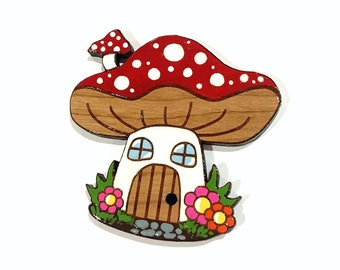 Toadstool House Brooch
