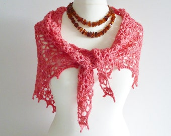 Coral pink delicate silk shawl - wedding - summer - delicate and lacey - eco-friendly yarn