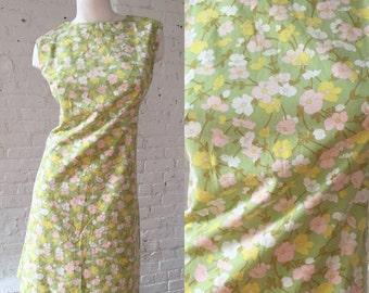 1960s Floral Pastel A Line Sleeveless Dress