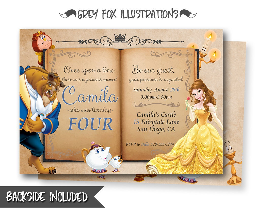 Beauty And The Beast Invitation Belle Invitation Beauty And