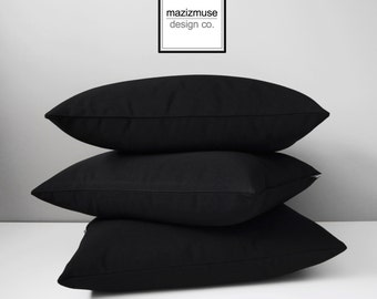 Black Sunbrella Pillow Cover, Decorative Outdoor Pillow Cover, Modern Black Pillow Cover, Solid Black Outdoor Cushion Cover, Mazizmuse