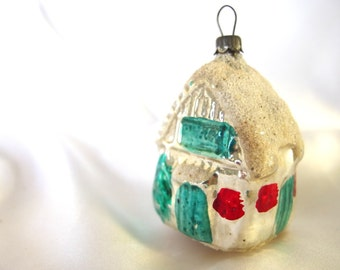 Vintage Christmas Ornament, Blow Mold Silver and Aqua House Cottage Ornament