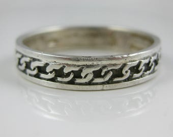 Size 9 3/4 Vintage Sterling Silver S Pattern Ring Band